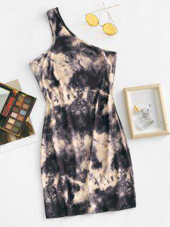 One Shoulder Tie Dye Slinky Bodycon Dress - Coffee M