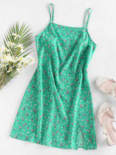 ZAFUL Floral Slit Mini Vacation Dress - Green M
