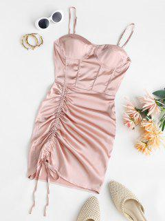 Satin Cinched Mini Bustier Dress - Light Pink M