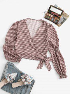 Gingham Shirred Detail Long Sleeve Wrap Blouse - Deep Coffee S