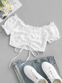 Blusa De Ombro Plano Com Babados Cortado - Branco M