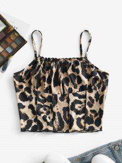 Leopard Pintuck Lettuce-hem Ruched Bust Cami Top - Coffee M