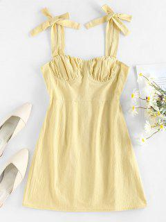 ZAFUL Tie Shoulder Ruched Bust Summer Dress - Light Yellow M