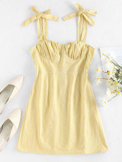 ZAFUL Tie Shoulder Ruched Bust Summer Dress - Light Yellow Xl