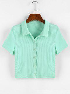 ZAFUL Ribbed Button Front Crop Tee - Light Green Xl