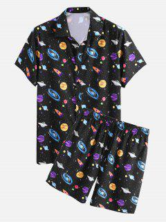 Planet Galaxy Print Shirt And Shorts Two Piece Set - Black L
