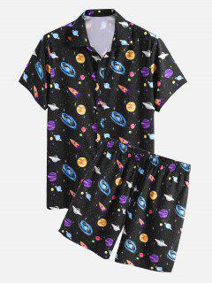 Conjunto Dos Piezas Camisa Estampado Galaxia Y Shorts - Negro M