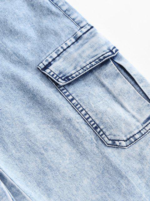 hot Flap Pockets Drawstring Cargo Jeans - LIGHT SKY BLUE XL Mobile
