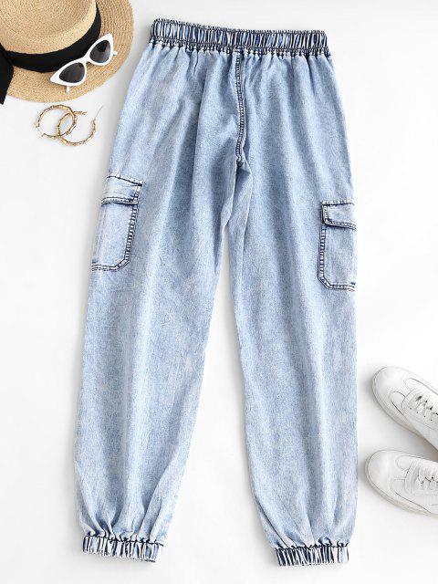 chic Flap Pockets Drawstring Cargo Jeans - LIGHT SKY BLUE M Mobile