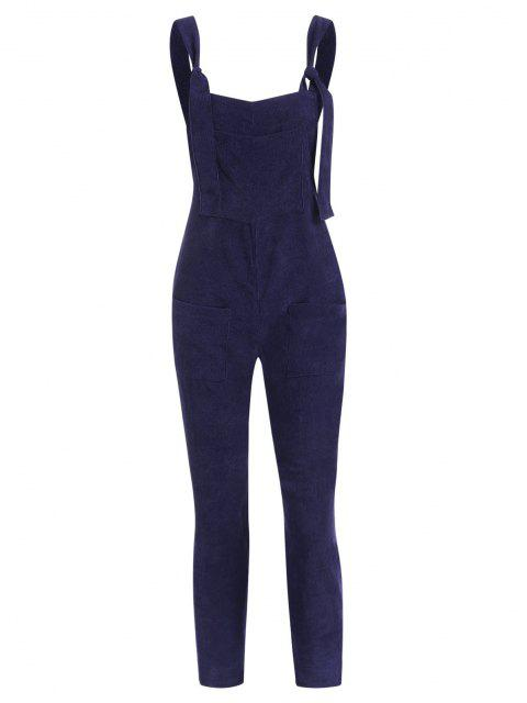outfits Straight Pockets Corduroy Overalls Jumpsuit - DEEP BLUE L Mobile