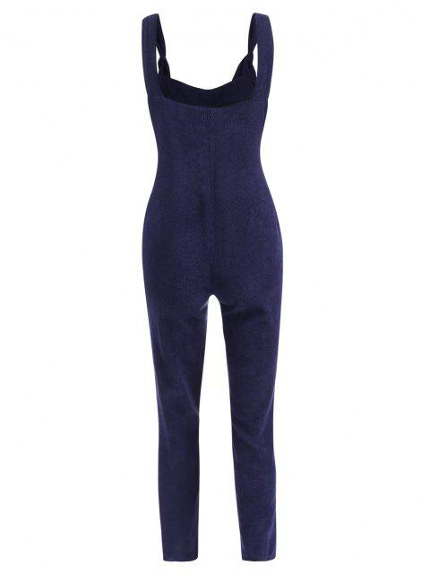 buy Straight Pockets Corduroy Overalls Jumpsuit - DEEP BLUE S Mobile