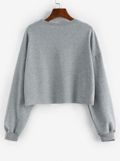 hot ZAFUL Letter Print Cropped Sweatshirt - GRAY XL Mobile