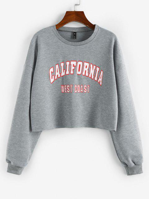 shop ZAFUL Letter Print Cropped Sweatshirt - GRAY M Mobile