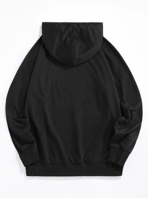 fashion ZAFUL Fire Dice Checkerboard Print Raglan Sleeve Hoodie - BLACK L Mobile