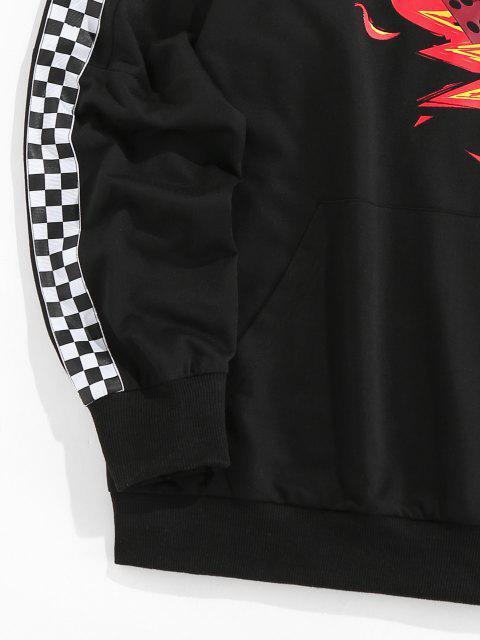 chic ZAFUL Fire Dice Checkerboard Print Raglan Sleeve Hoodie - BLACK XL Mobile
