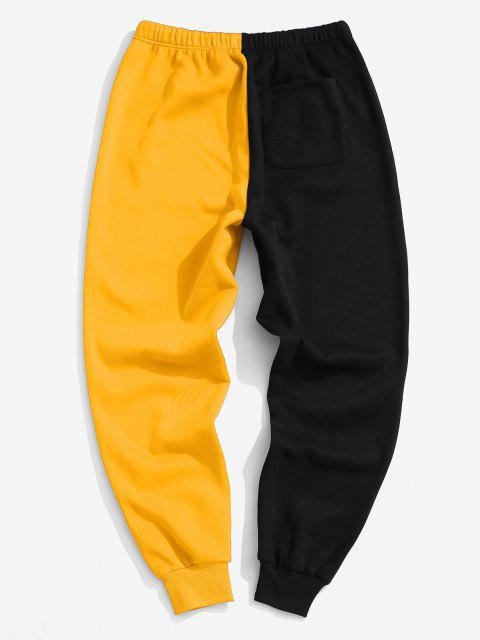 affordable Letter Text Print Contrast Fleece Sports Pants - YELLOW L Mobile
