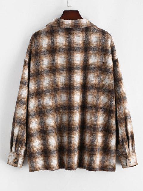 ladies ZAFUL Plus Size Front Flap Pocket Flannel Plaid Shacket - LIGHT COFFEE L Mobile