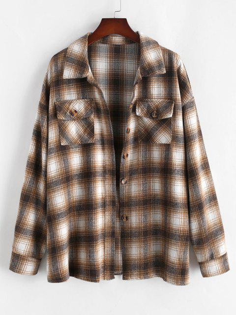 lady ZAFUL Plus Size Front Flap Pocket Flannel Plaid Shacket - LIGHT COFFEE XL Mobile