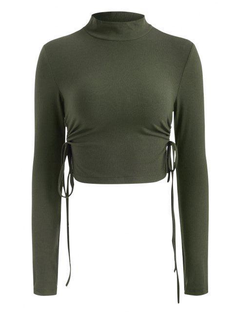 Stehkragen Gerippter Strick Geschnürte Seite Geraffte Crop Top - Grün L Mobile