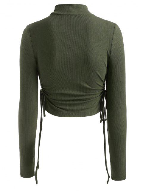 shops Mock Neck Rib-knit Side Cinched Ruched Crop Top - GREEN M Mobile
