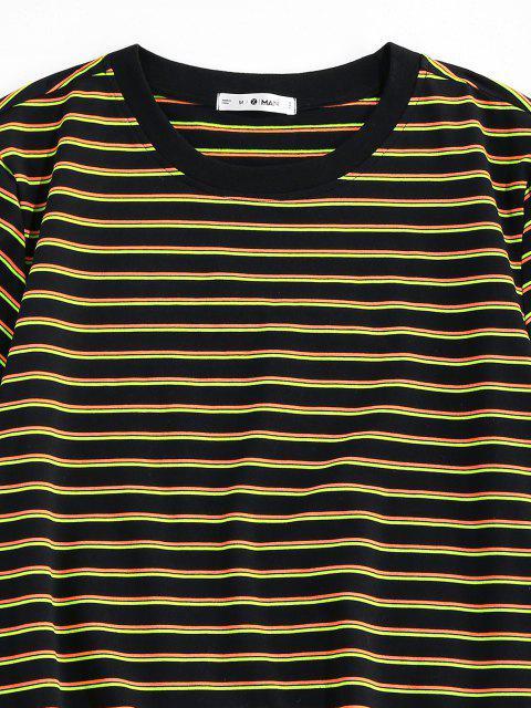 T-Shirt di ZAFUL a Righe con Maniche Corte - Giallo XXL Mobile
