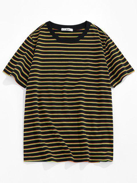 ZAFUL Camiseta de Rayas con Estampado de Rayas - Amarillo M Mobile