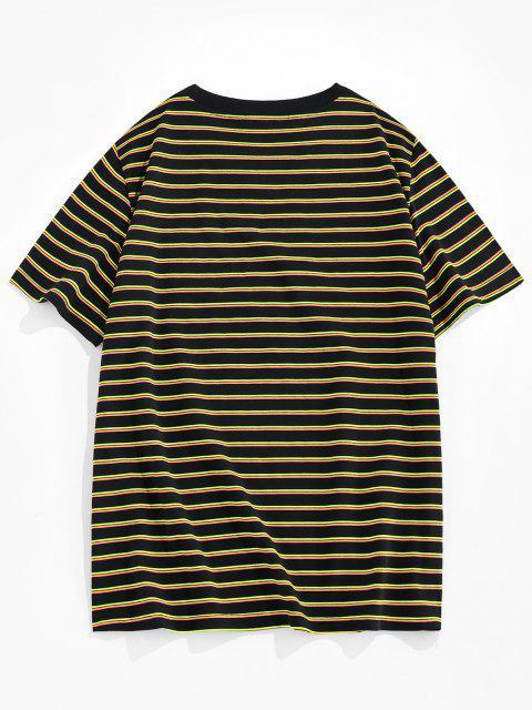 ZAFUL Camiseta de Rayas con Estampado de Rayas - Amarillo S Mobile