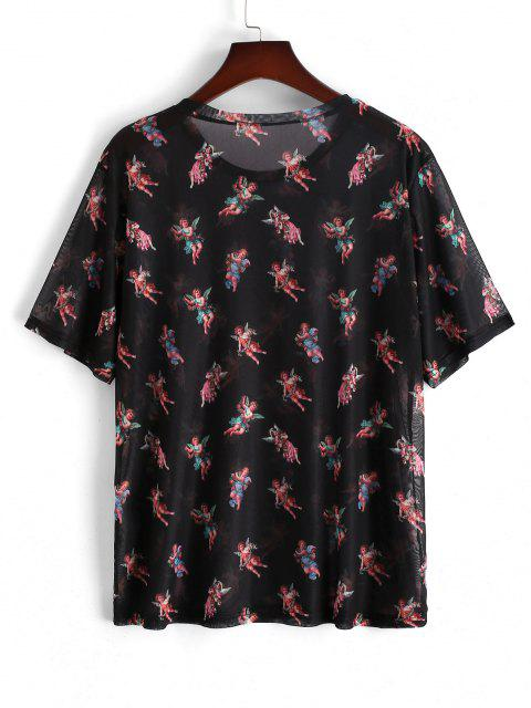 fancy Short Sleeve Angel Floral Print Mesh T-shirt - BLACK L Mobile