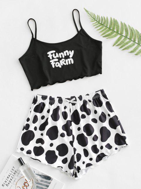 outfits Letter Cow Print Lettuce Trim Two Piece Set - BLACK XL Mobile