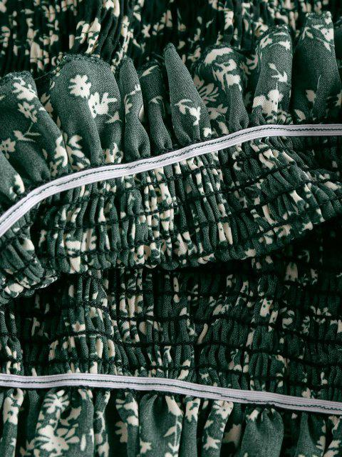 ZAFUL Haut Plissé Fleuri sans Bretelle - Vert profond S Mobile