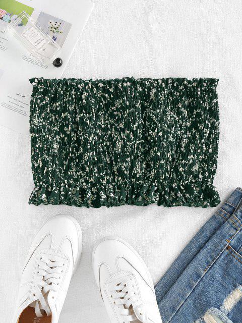 outfit ZAFUL Tiny Floral Smocked Strapless Top - DEEP GREEN M Mobile