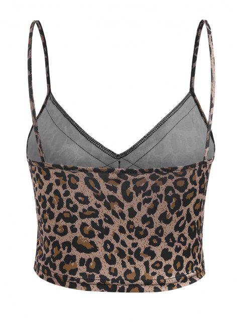 Camiseta Corta Cami Panel Encaje Estampado Leopardo - Multicolor S Mobile