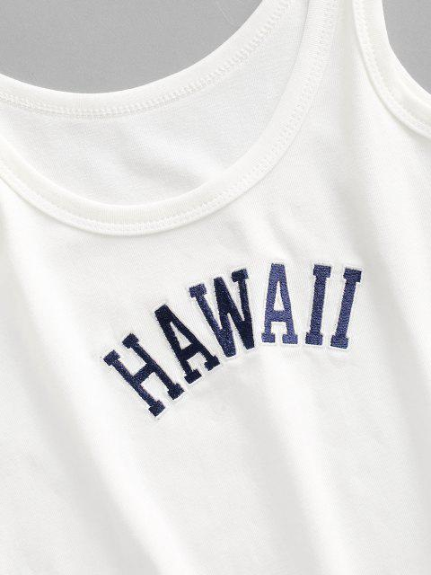 buy HAWAII Embroidered Basic Tank Top - WHITE M Mobile