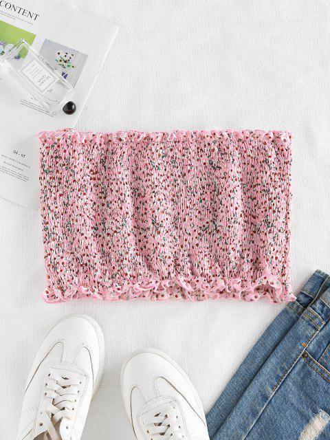 trendy ZAFUL Smocked Ditsy Floral Bandeau Top - LIGHT PINK M Mobile