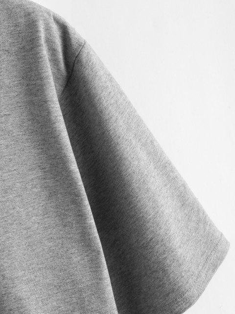 Camiseta com Corte na Bainha Desgastada Cortado - Cinzento S Mobile