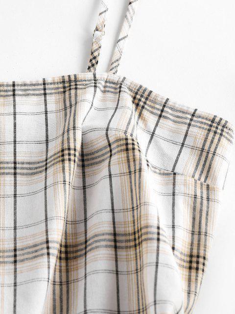 hot ZAFUL Plaid Printed Mini Slip Dress - COFFEE M Mobile