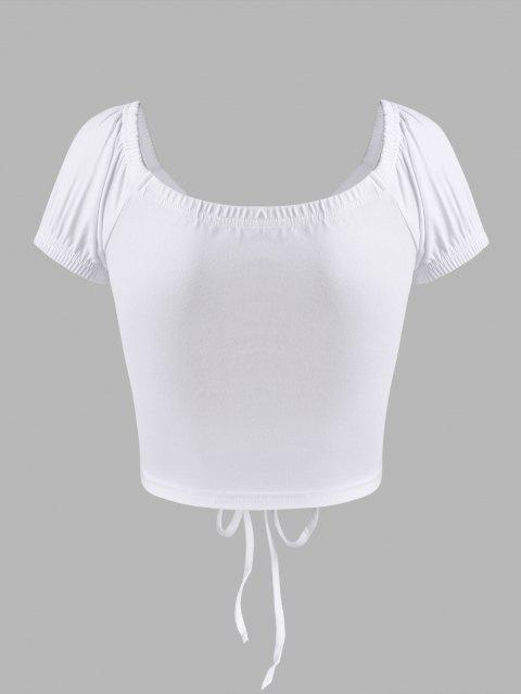 women's Tie-front Puff Sleeve Crop Top - WHITE S Mobile