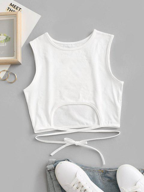hot Tie Back Cut Out Criss Cross Crop Top - WHITE S Mobile