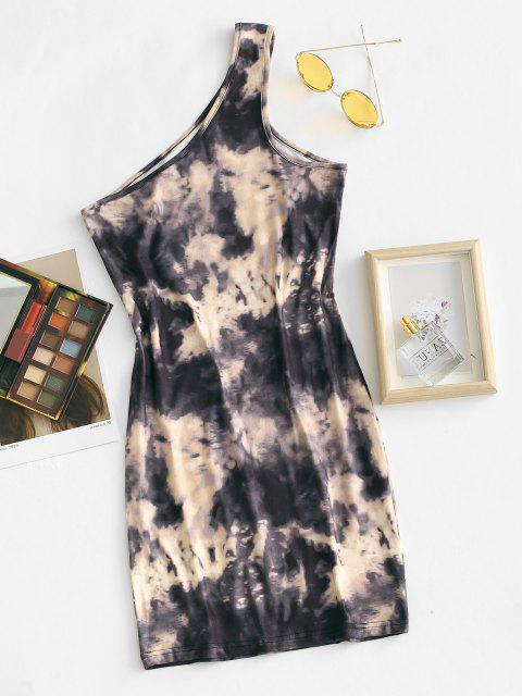 best One Shoulder Tie Dye Slinky Bodycon Dress - COFFEE S Mobile