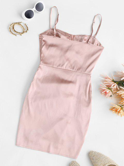 Gehäkeltes Mini Bustier Kleid aus Satin - Helles Rosa XL Mobile