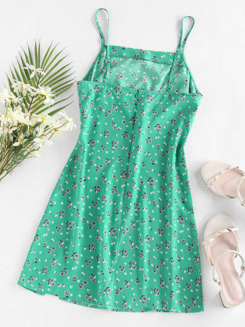 ZAFUL Blumen Schlitz Mini Urlaub Kleid - Grün M Mobile
