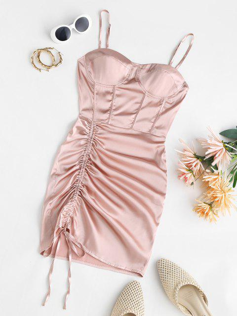 Mini Robe Plissée en Satin - Rose clair S Mobile