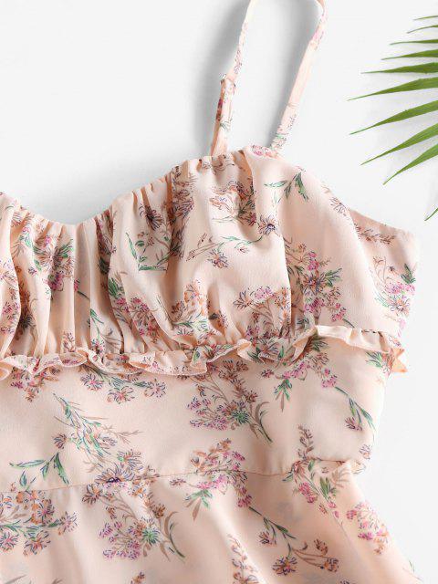 ZAFUL Blumen Geraffte Rüschen A-Linie Cami Kleid - Hell-Pink M Mobile