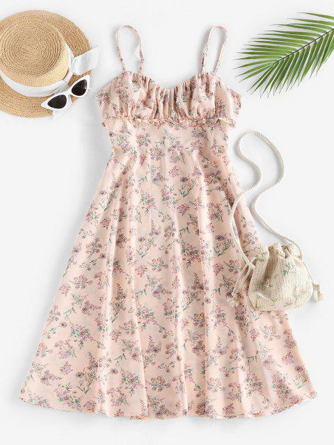 outfit ZAFUL Floral Ruched Frilled A Line Cami Dress - LIGHT PINK S Mobile
