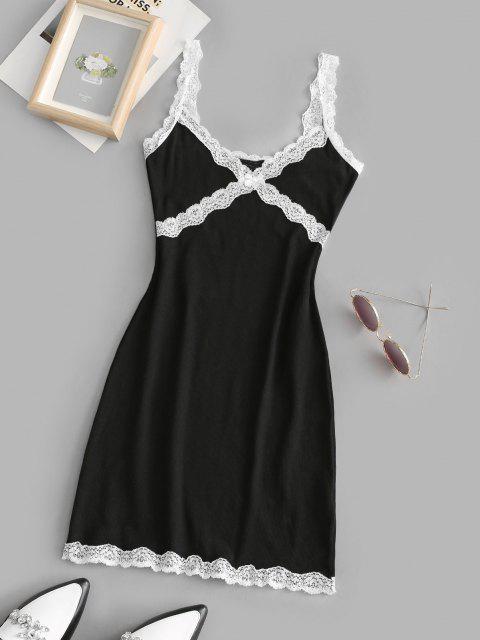 lady Scalloped Lace Trim Ribbed Slinky Dress - BLACK S Mobile