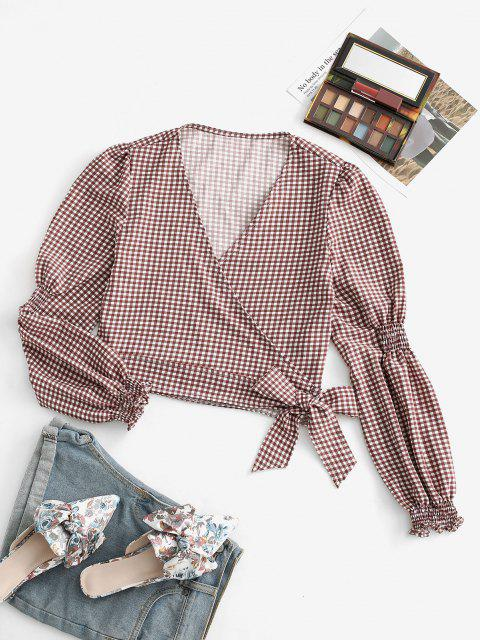 women's Gingham Shirred Detail Long Sleeve Wrap Blouse - DEEP COFFEE S Mobile