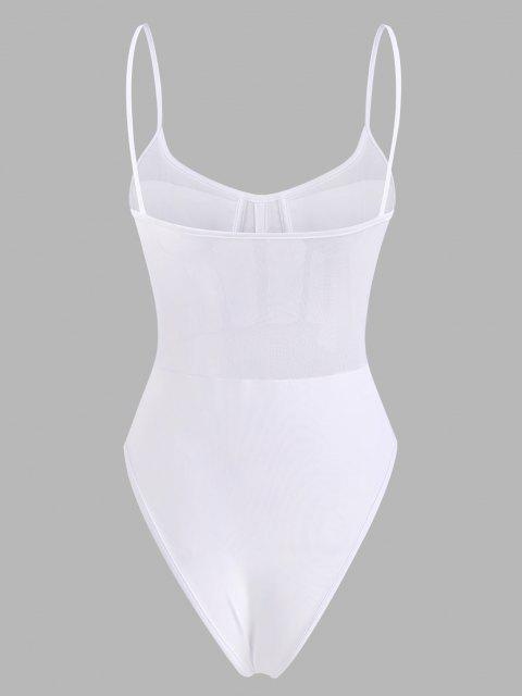 lady Mesh Panel Corset Detail Snap Crotch Bustier Bodysuit - WHITE M Mobile