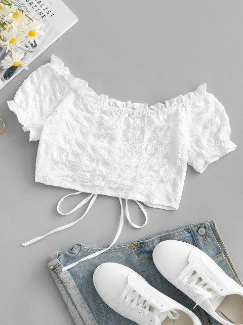 fancy Frilled Off Shoulder Cinched Crop Blouse - WHITE M Mobile