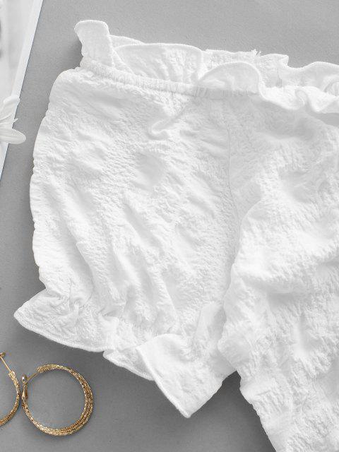 unique Frilled Off Shoulder Cinched Crop Blouse - WHITE S Mobile