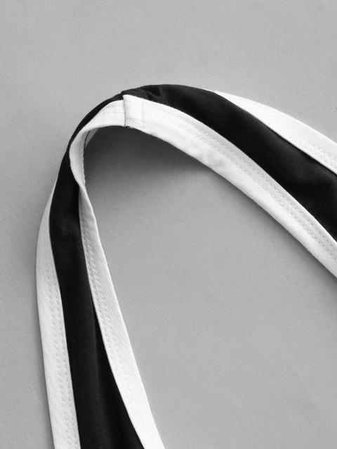 sale Contrast Binding Halter Crop Top - BLACK M Mobile
